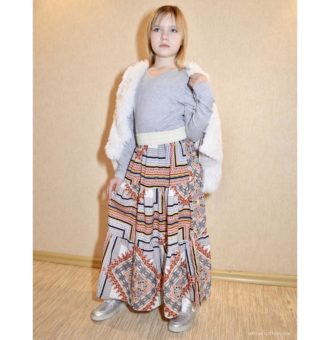 PDF Pattern fashionable long skirt for girls with frills in the country style-patterns-clothing.com
